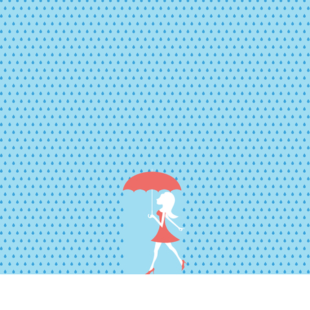 sexy young woman: Sexy young woman or girl walking in summer rain with red dress and umbrella.