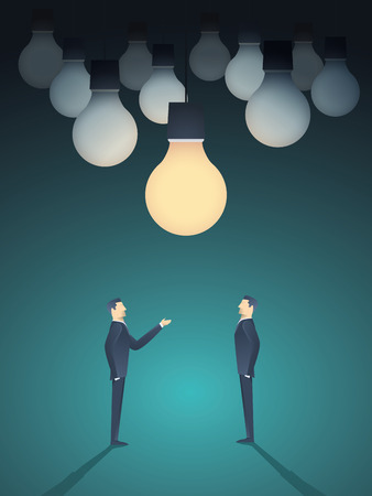 creativity symbol: Two businessmen standing under lightbulb as a symbol of business creativity. Creative sign vector concept background.