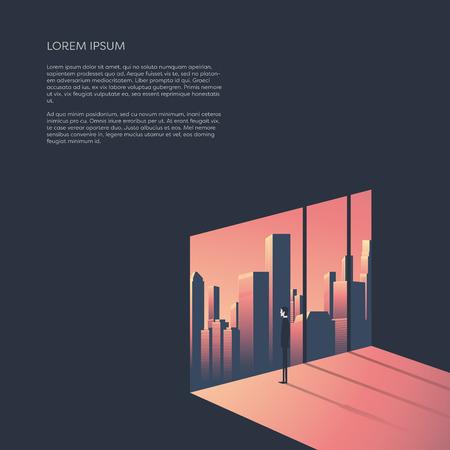 都市スカイラインの窓を通して見る実業家。ビジネスと企業の世界概念ベクトル イラスト都市景観と夕日。