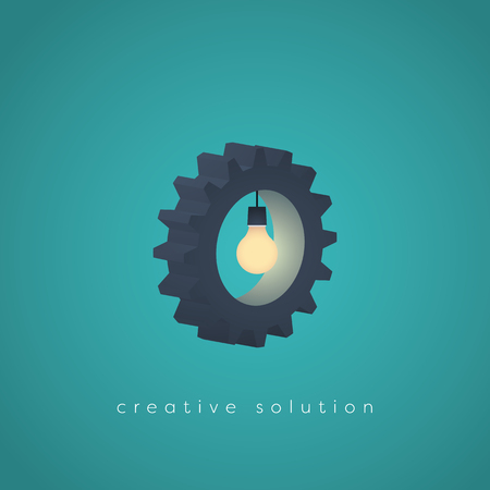 creativity symbol: Creative solution business vector symbol with gear and a lightbulb. Business concept for creativity, technology, engineering.