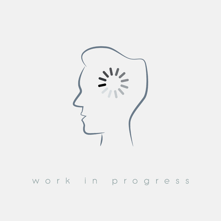 men at work sign: Creativity concept with loading symbol in man head. Business vector illustration for thinking, work in progress and finding solution.