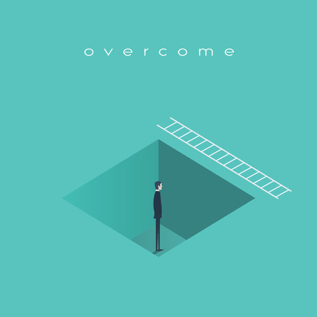 recover: Business challenge concept, man standing in a hole with ladder. Finding solution, recover from crisis symbol. Illustration