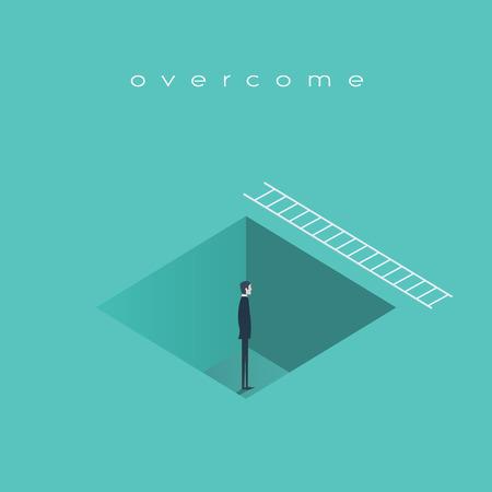 Business concept de défi, l'homme debout dans un trou avec échelle. Trouver une solution, récupérer de symbole de crise.