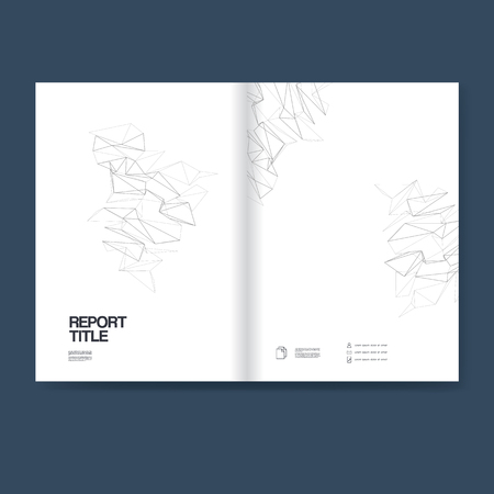 the reporting: Report cover template for business annual reporting. Vector polygonal line art background with geometric shapes and space for text.