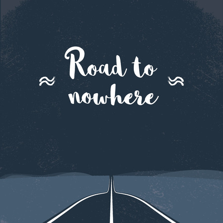 new beginning: Road to nowhere concept with freeway in forest and canyon or valley. Nature travelling. Escape, new beginning adventure abstract. Illustration
