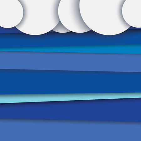backdrop design: Modern abstract material design vector background with layers. Clouds on top, blue sky in backdrop.