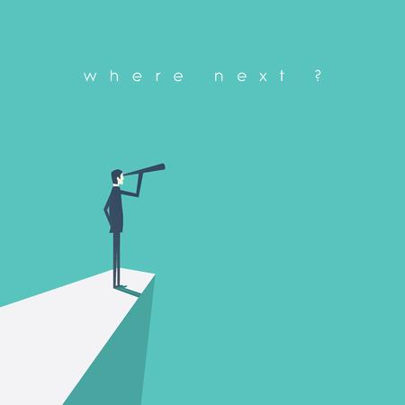 fernrohr: Visionäre Führung Konzept Illustration mit Vektor-Business-Mann von einer Klippe durch Teleskop suchen. Illustration