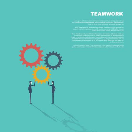 assembling: Business concept of teamwork in modern flat design vector illustration. Two businessmen assembling gears.