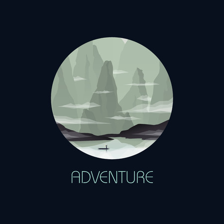 disconnected: Nature concept with Eastern Asia, China, Vietnam landscape scene vector. Boat on a river in gorge between cliffs and rocks.