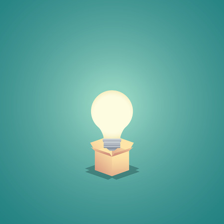 creativity symbol: Think outside the box business concept vector background with lightbulb. Creativity and creative solutions abstract symbol. Illustration