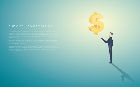 Smart investment business concept vector background with dollar sign as symbol of money and businessman. Bank and banking financial institutions abstract. Illustration