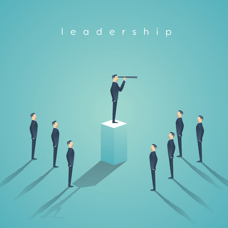 Business leadership concept with businessman standing on pillar. Manager, executive position vector wallpaper. Stok Fotoğraf - 63660850