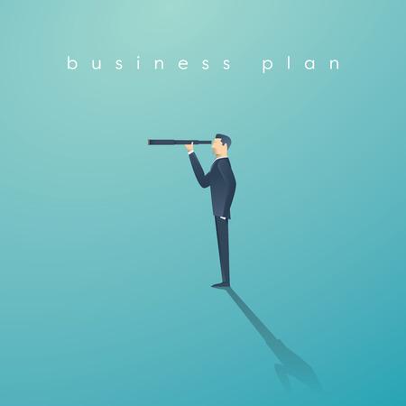 Visie concept in het bedrijfsleven met vector pictogram van de zakenman en telescoop, monoculaire. Symbool van leiderschap, strategie, missie, doelstellingen.