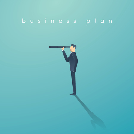 Vision concept in business with vector icon of businessman and telescope, monocular. Symbol of leadership, strategy, mission, objectives. Иллюстрация