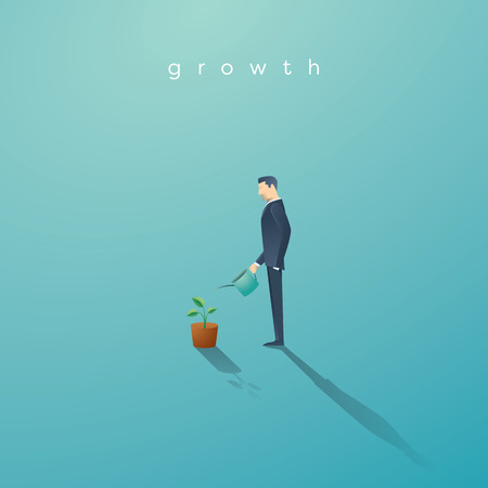 grow money: Business concept of growth. Businessman watering small green plant or tree. Symbol of success, future.