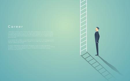 career success: Business career ladder concept with businessman vector symbol. Corporate job promotion, progress, growth.