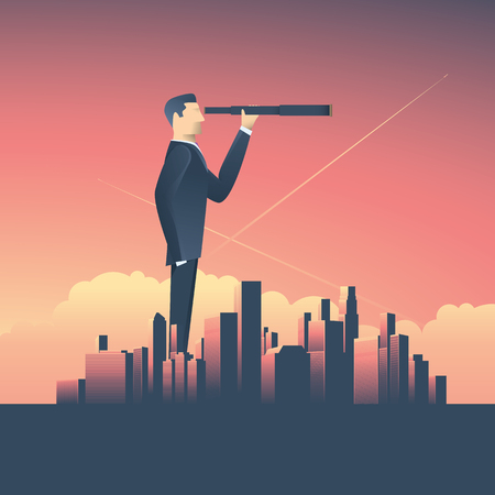 Vision concept in business with vector icon of businessman and telescope, monocular with corporate skyline cityscape background. Vettoriali