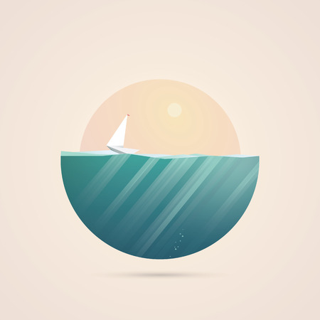 ocean view: Summer holidays concept illustration with ocean view in some exotic location. Sailboat or yacht as symbol of traveling and adventure. Illustration