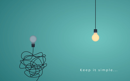 comunicazione: Keep it simple concetto di business per il marketing, la creatività, la gestione del progetto. Vettoriali