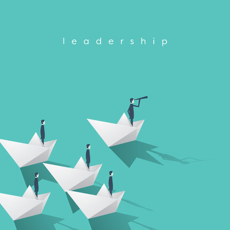 Businessman with monocular on paper boat as a symbol of business leadership. Visionary leading team, teamwork concept. Stock Illustratie