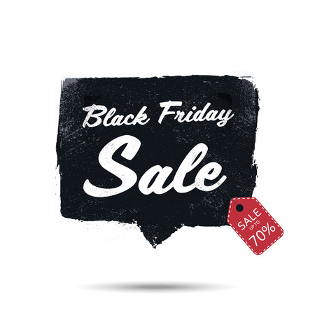 sale sticker: Black friday sale promotional poster with watercolor frame vector background. Discounts advertising in retail. Illustration