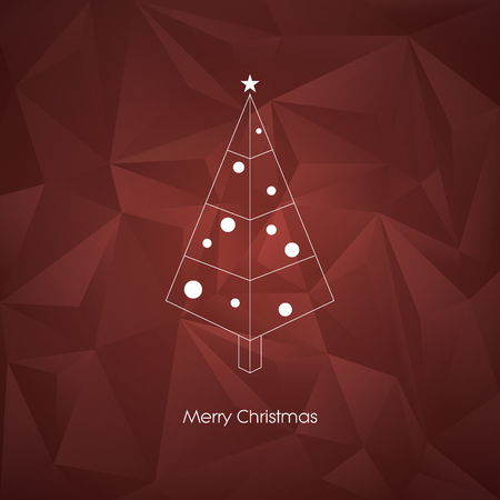 minimalistic: Modern abstract christmas tree vector card template with line art xmas holiday symbol on low poly background.