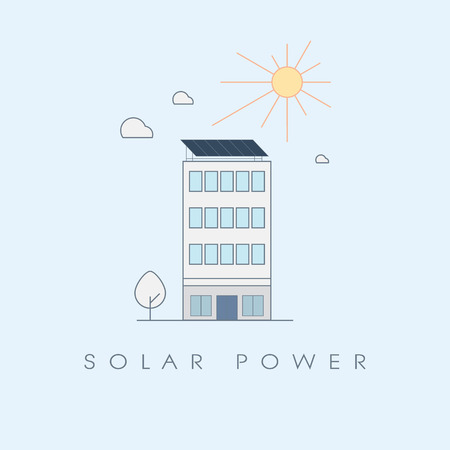 solar panel roof: Solar power concept for office buildings. Ecological sustainable renewable energy technology symbol.
