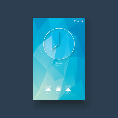 smartphone icon: Clock and weather forecast icons mobile ui on blue low poly background. Modern line icon design for smartphone graphics user interface.