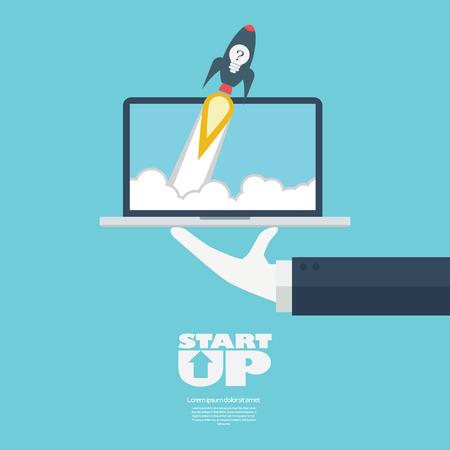 business symbol: Startup business symbol rocket launch. Flying off a laptop on serving businessman hand. Illustration
