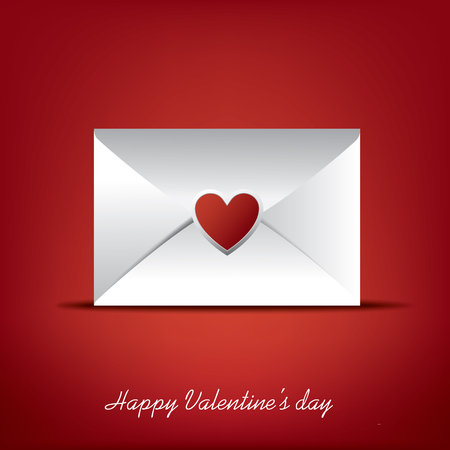 romance: Valentine envelope with heart as symbol of romance and love. Illustration