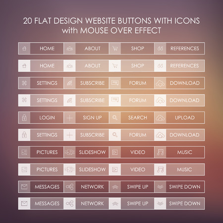 website buttons: Set of 20 basic website icons in modern flat design and ghost buttons.