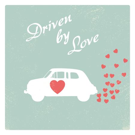 driven: Vintage car driven by love romantic postcard design for Valentine card.
