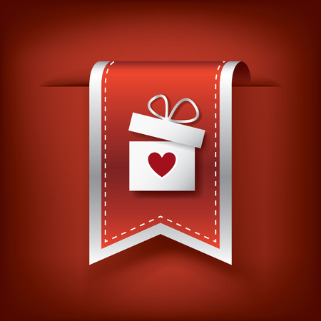 Valentine vertical ribbon or bookmark element for websites and promotion of holiday.