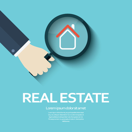 glas: Real estate business background with magnifying glass as a symbol of searching for property. Corporate symbol.