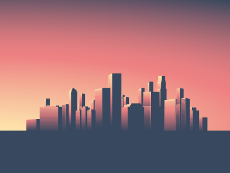 monumental: Cityscape vector background. Skyline wallpaper with skyscrapers in sunset or sunrise.