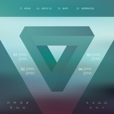 basic shapes: Basic website simple layout with blurred background and line icons. Transparent geometry shapes.