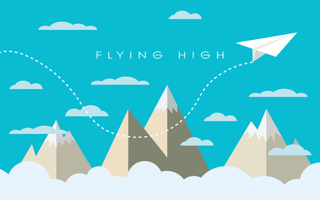 Paper plane flying over mountains between clouds. Modern polygonal shapes background, low poly. Business concept design.