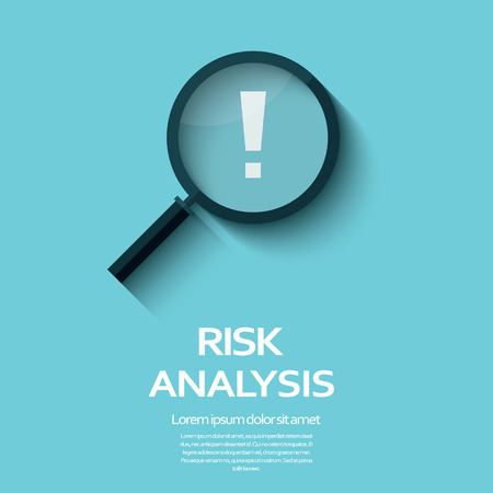 Business Risk Analysis symbol with magnifying glass icon and exclamation mark. Long shadow flat design.