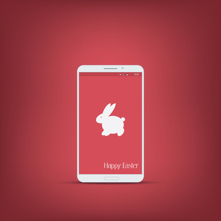 easter message: Happy easter message with smartphone. Bunny symbol with ears on red background. Suitable for advertisement and promotional.