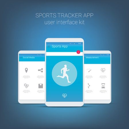 heart monitor: Flat design user interface for smart phone or mobile fitness sports apps. Navigation menu with line icons and buttons. Statistics, performance, social media, heart monitor.