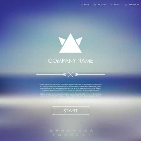introduction: Vector website template with graphic user interface also for mobile. Blurred background gradient mesh. Line icons. Ghost buttons. Minimalistic style. One page. Introduction.