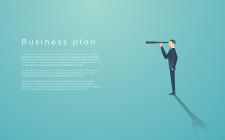 visionary: Vision concept in business with vector icon of businessman and telescope, monocular. Symbol leadership, strategy, mission, objectives.