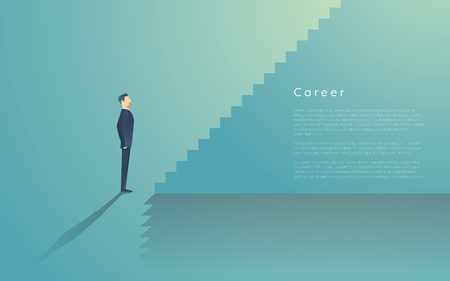 Business career ladder concept with businessman vector symbol. Corporate job promotion, progress, growth.