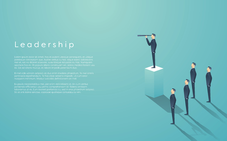 Business leadership concept with businessman standing on pillar. Manager, executive position vector wallpaper.