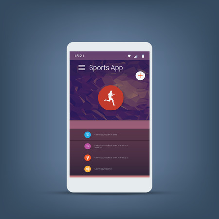 application icons: Fitness tracker smartphone user interface vector icons for sports applications.