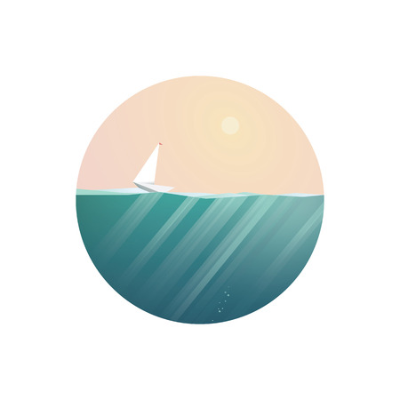 ocean view: Summer holidays concept illustration with ocean view in some exotic location. Sailboat or yacht as symbol of traveling and adventure. Polygonal style. Illustration
