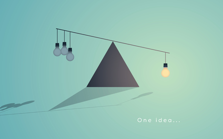 outweighing: Creativity concept with one light bulb as symbol of great idea outweighing many small ideas. Illustration