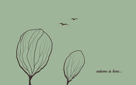 Autumn background with trees in wind. Melancholic emotion symbol vector wallpaper. Birds flying in the sky. Eps10 vector illustration.