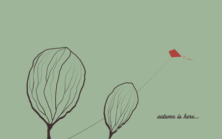 Autumn background with trees in wind. Melancholic emotion symbol vector wallpaper. Kite flying in the sky. Eps10 vector illustration. Illustration