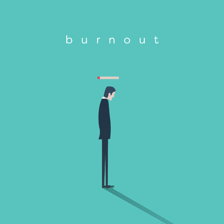 burnout: Burnout syndrome concept with a businessman without energy at work. Business vector abstract. Eps10 vector illustration.